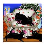 CHRISTMAS 4 BLACK CATS Tile Coaster
