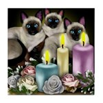 SIAMESE CAT candles CHRISTMAS Tile Coaster
