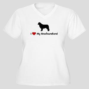 I Love My Newfoundland Women's Plus Size V-Neck T-