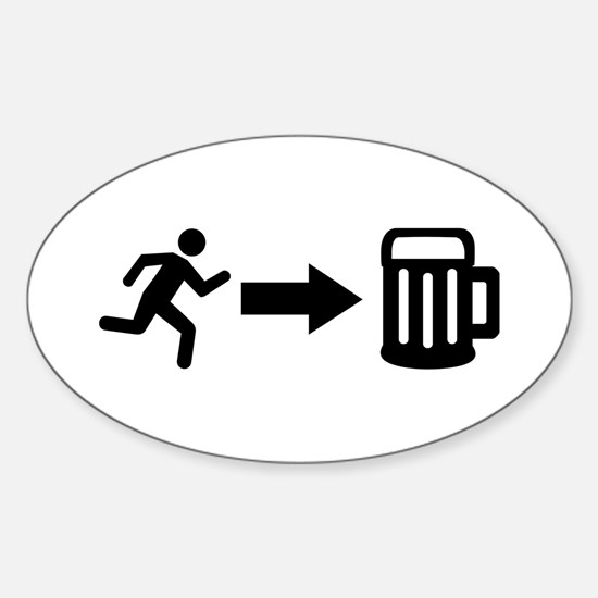Run for beer Sticker (Oval)