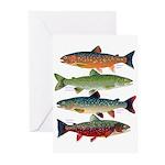 4 Char fish Greeting Cards
