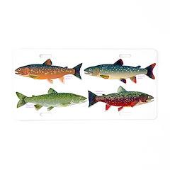4 Char fish Aluminum License Plate