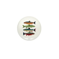4 Char fish Mini Button (10 pack)