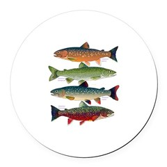 4 Char fish Round Car Magnet