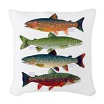 4 Char fish Woven Throw Pillow