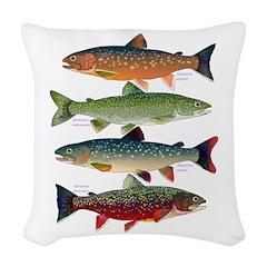 4 Char fish Woven Throw Pillow