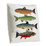 4 Char fish Burlap Throw Pillow