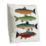 4 Char fish Burlap Throw Pillow