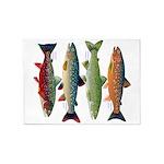 4 Char fish 5'x7'Area Rug