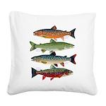 4 Char fish Square Canvas Pillow