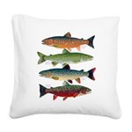 4 Char fish Square Canvas Pillow