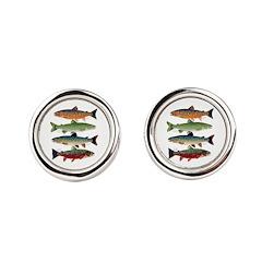 4 Char fish Round Cufflinks
