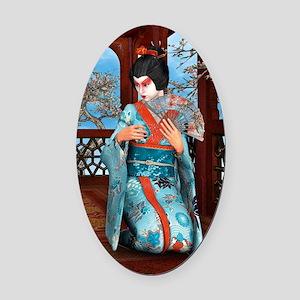 Geisha Oval Car Magnet