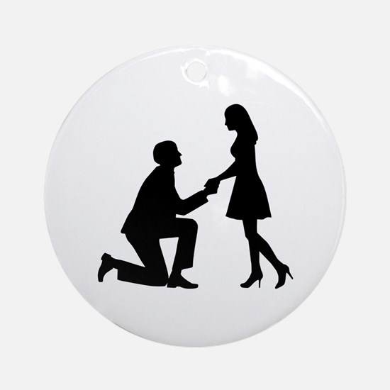 Wedding Marriage Proposal Ornament (Round)