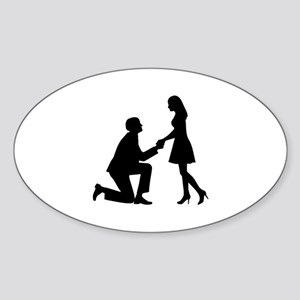 Wedding Marriage Proposal Sticker (Oval)