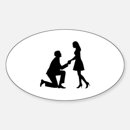 Wedding Marriage Proposal Sticker (Oval)