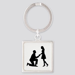 Wedding Marriage Proposal Square Keychain