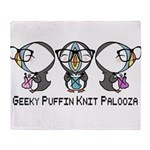 Geeky Puffin Knit Palooza Throw Blanket