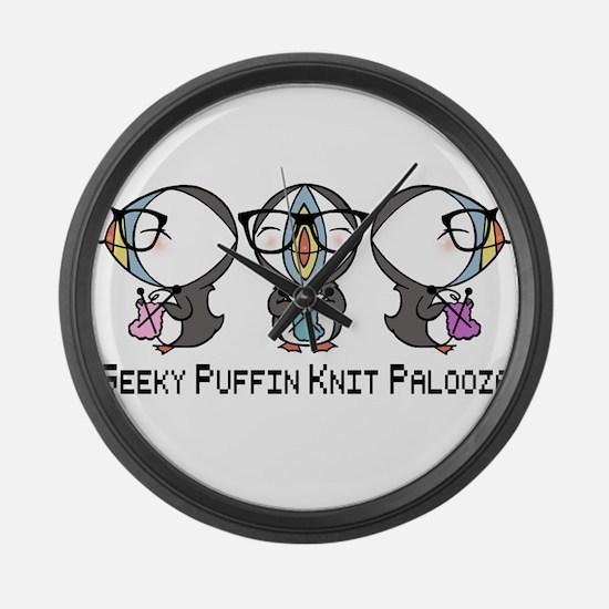 Geeky Puffin Knit Palooza Large Wall Clock