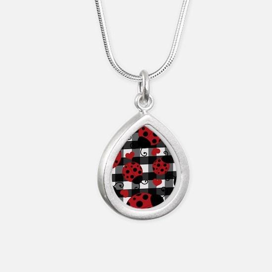 ladybug lover Silver Teardrop Necklace