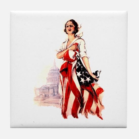 Vintage Flag Art Tile Coaster