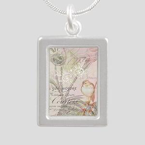 Pink bird floral Necklaces