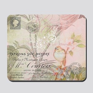 Pink bird floral Mousepad