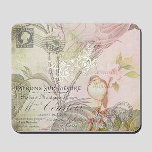 Pink bird floral Mousepad