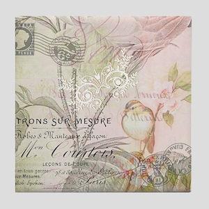 Pink bird floral Tile Coaster