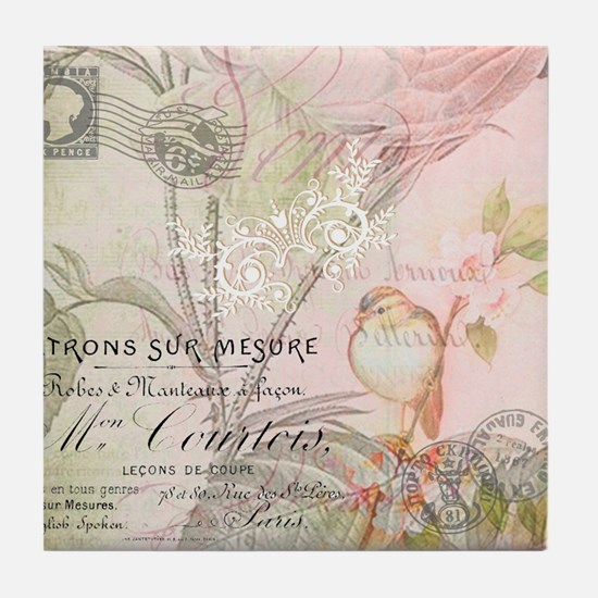 Pink bird floral Tile Coaster