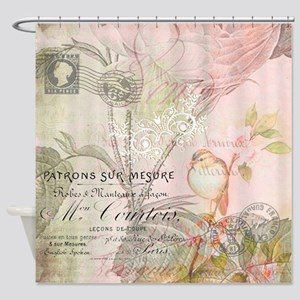 Pink bird floral Shower Curtain