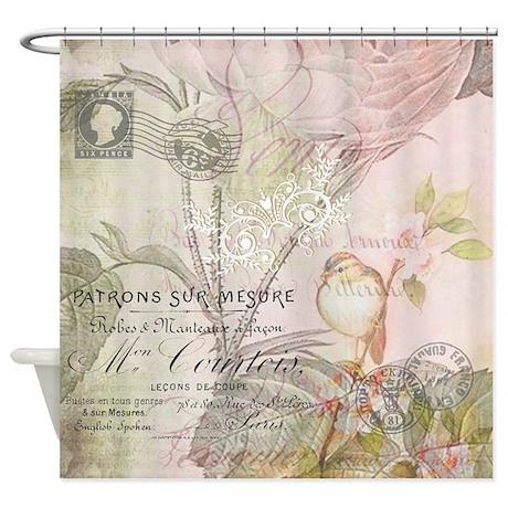 Pink Bird Floral Shower Curtain