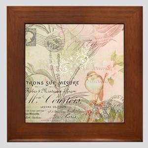 Pink bird floral Framed Tile