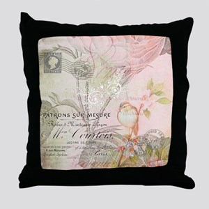 Pink bird floral Throw Pillow