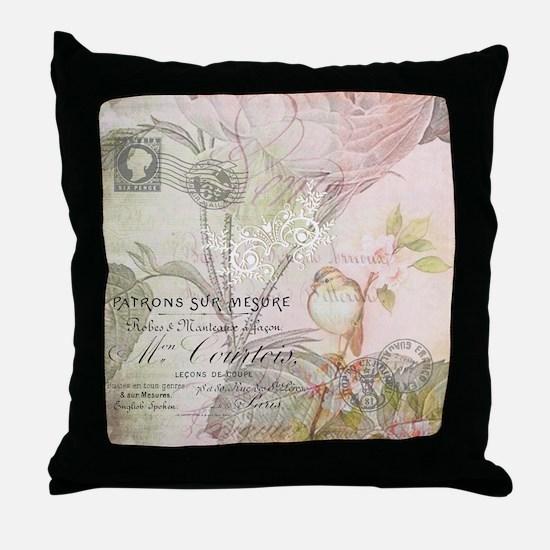 Pink bird floral Throw Pillow
