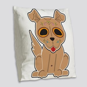 Sugar Puppy - Color Burlap Throw Pillow