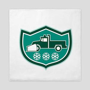 Snow Plow Truck Snowflakes Shield Retro Queen Duve