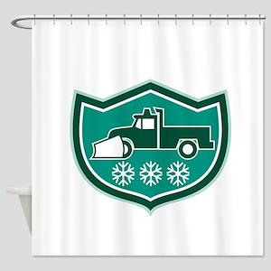 Snow Plow Truck Snowflakes Shield Retro Shower Cur