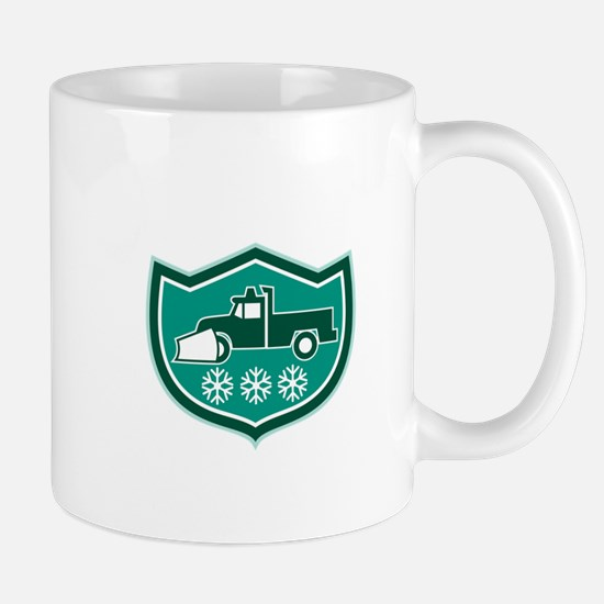 Snow Plow Truck Snowflakes Shield Retro Mugs