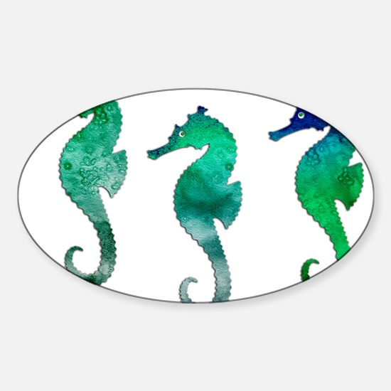 Three Dark Green Watercolor Seahorses Decal
