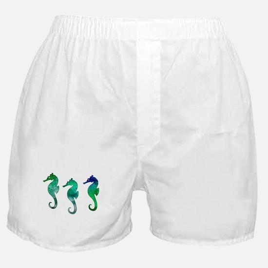 Three Dark Green Watercolor Seahorse Boxer Shorts