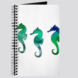 Three Dark Green Watercolor Seahorses Journal