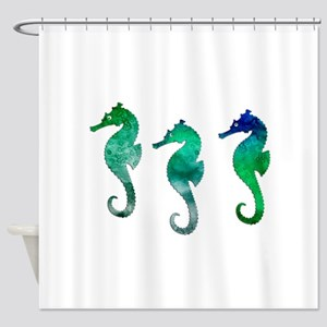 Three Dark Green Watercolor Seahor Shower Curtain