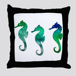 Three Dark Green Watercolor Seahorse Throw Pillow