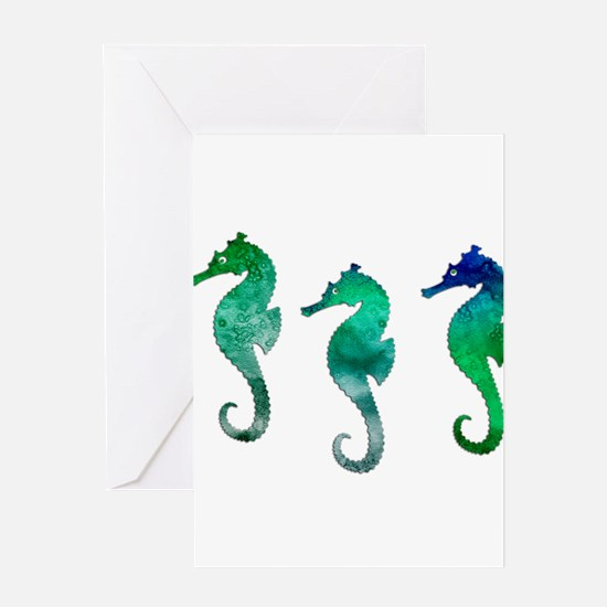 Three Dark Green Watercolor Seahor Greeting Cards