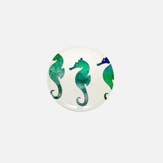 Three Dark Green Watercolor Seahorses Mini Button