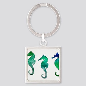 Three Dark Green Watercolor Seahorses Keychains