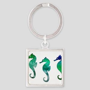Three Dark Green Watercolor Seahorses Keychains