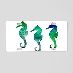 Three Dark Green Watercolo Aluminum License Plate