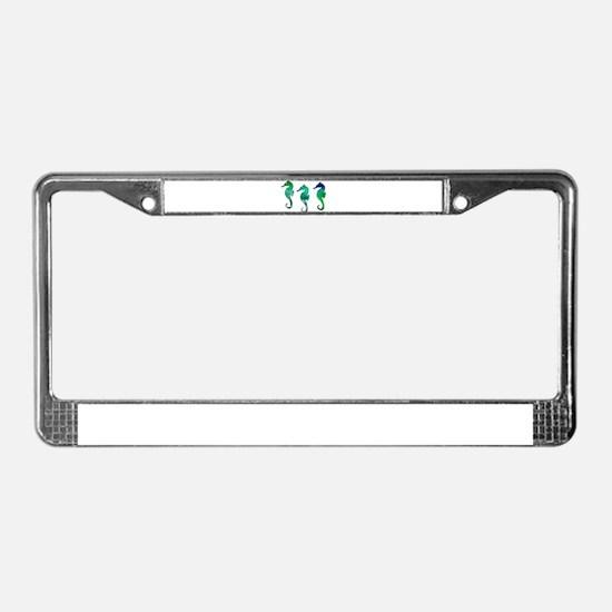 Three Dark Green Watercolor S License Plate Frame